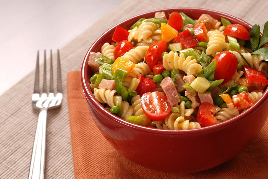 Bowl Of Pasta Salad In A Red Bowl