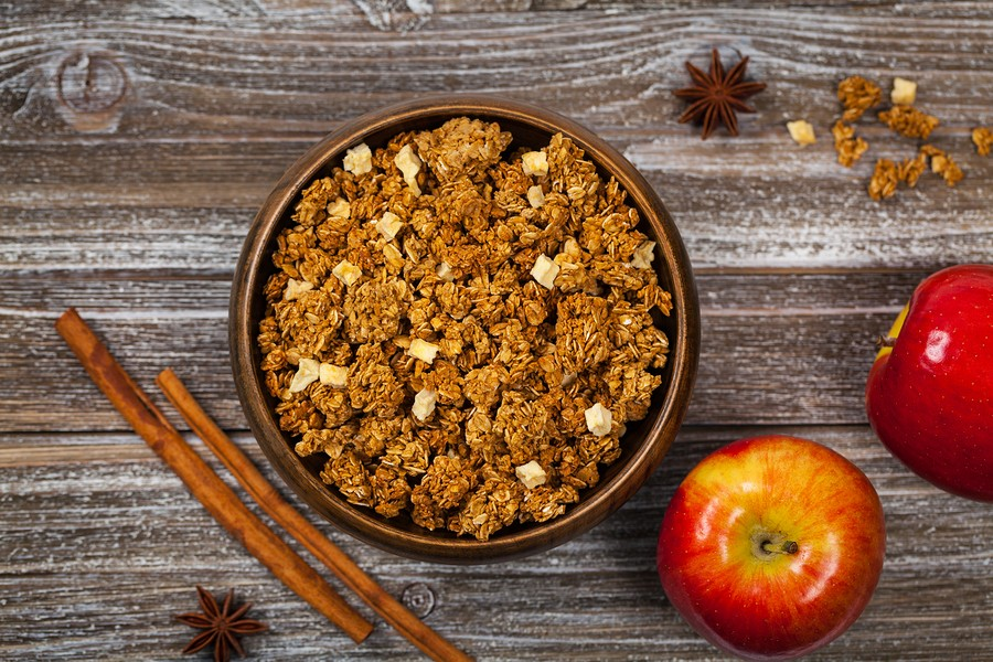 Apple Cinnamon Granola For Breakfast. Selective Focus.