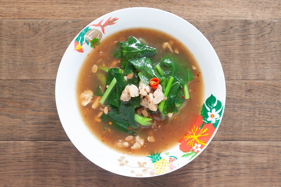 Thai Or Chinese Traditional Noodles Soup With Chicken