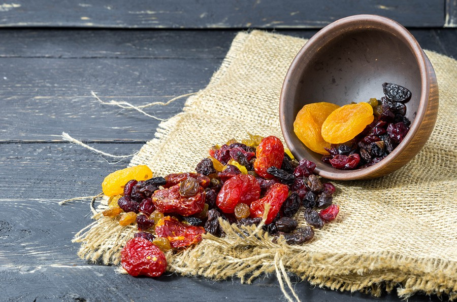 Spread Dried Fruits. Raspifany Dry Berries. High Depth Of Field.