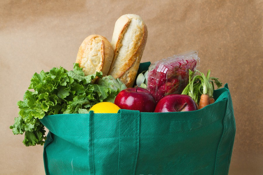 Recycle Reusable Grocery Bag With Fruit And Vegetables.