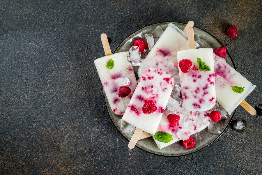 Summer Sweet Desserts, Homemade Organic Ice Cream Popsicles From Raspberry And Yogurt, Dark Rusty Ba