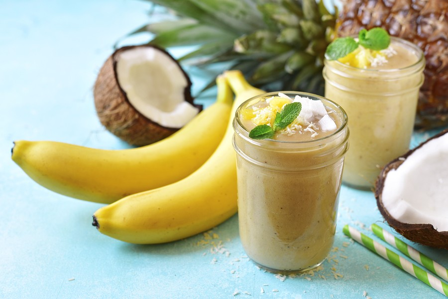 Tropical Smoothies With Banan, Coconut And Pineapple.
